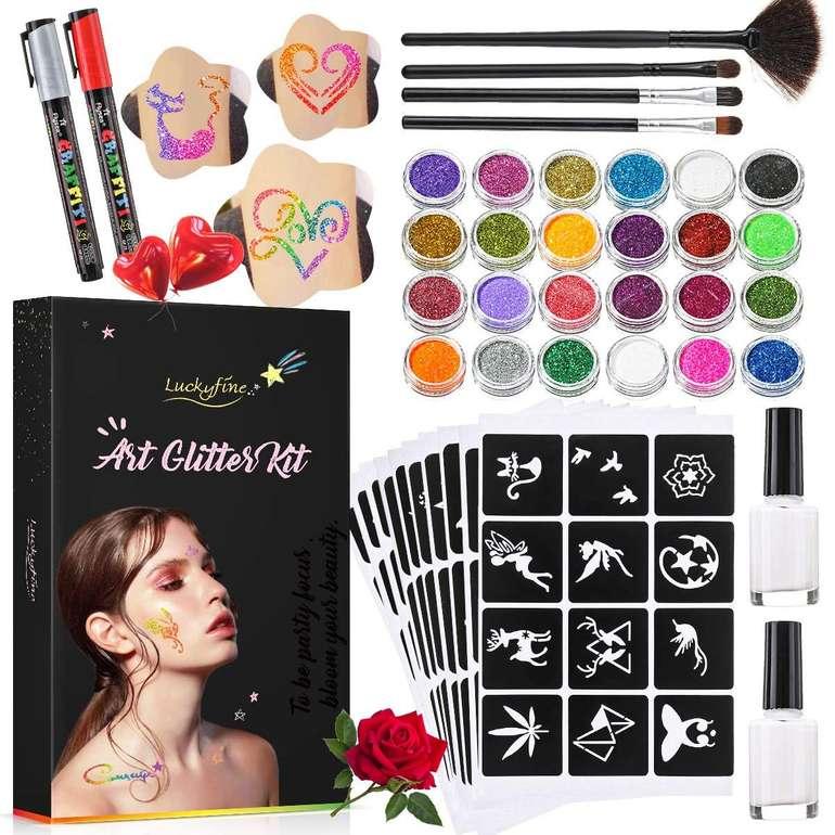 Luckyfine Glitzer Tattoo Set mit 24 Glitzertuben & 112 Schablonen für 9,89€ inkl. Prime Versand (statt 18€)