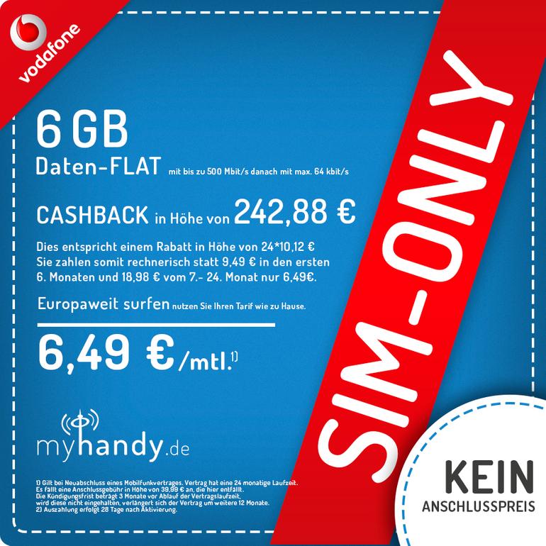 Vodafone DataGo M mit 6GB LTE und 500MBit/s für 6,49€/Monat (242,88€ Auszahlung)