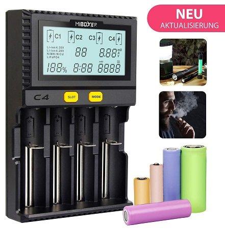 Miboxer C4 - Akkuladegerät mit LCD Display für 15,39€ inkl. Versand (Prime)