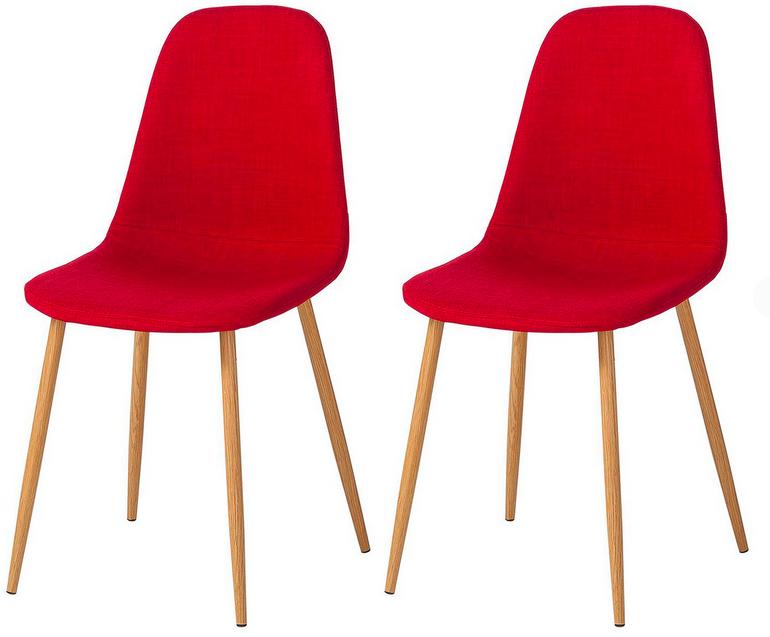 Polsterstuhl Iskmo II (2er-Set) in rot für 47,99€ inkl. Versand (statt 80€)