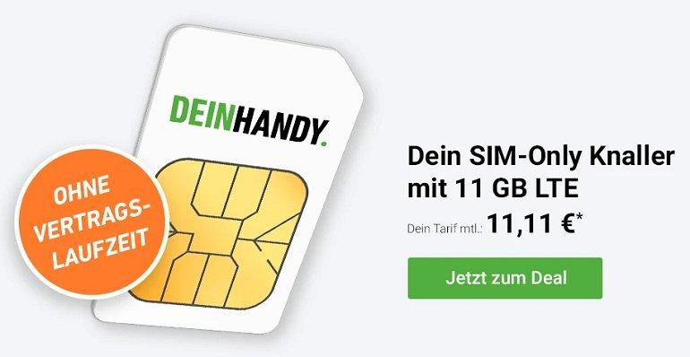 DeinHandy Flex Aktion 11 GB LTE + Allnet Flat im Telefonica Netz