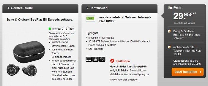 Telekom Internet-Flat 10GB LTE mit Bang & Olufsen BeoPlay E8 für 15,99€ mtl.