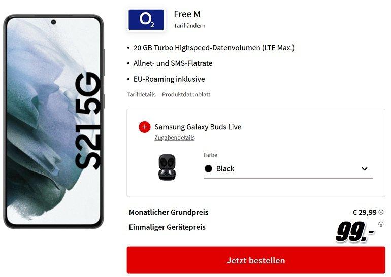Samsung Galaxy S21 5G + Galaxy Buds Live o2 Free M Allnet-Flat mit 20GB LTE