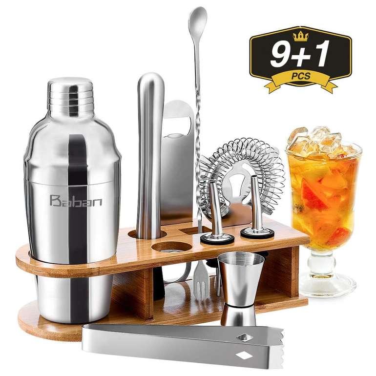 Baban - 10-teiliges Cocktail Shaker Set für 18€ inkl. VSK (Prime)