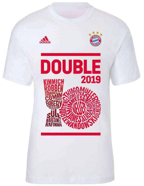 FC Bayern München Adidas Double Winners 2019 T-Shirt für 11,94€ inkl. Versand (statt 22€)