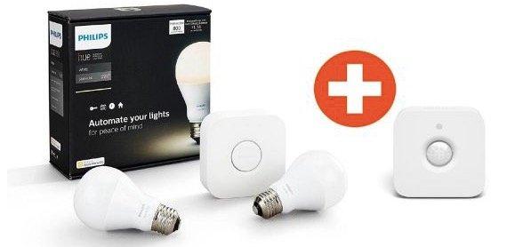 Philips Hue White Starter Set 2x E27 Lampe + Bridge & Bewegungssensor 66€