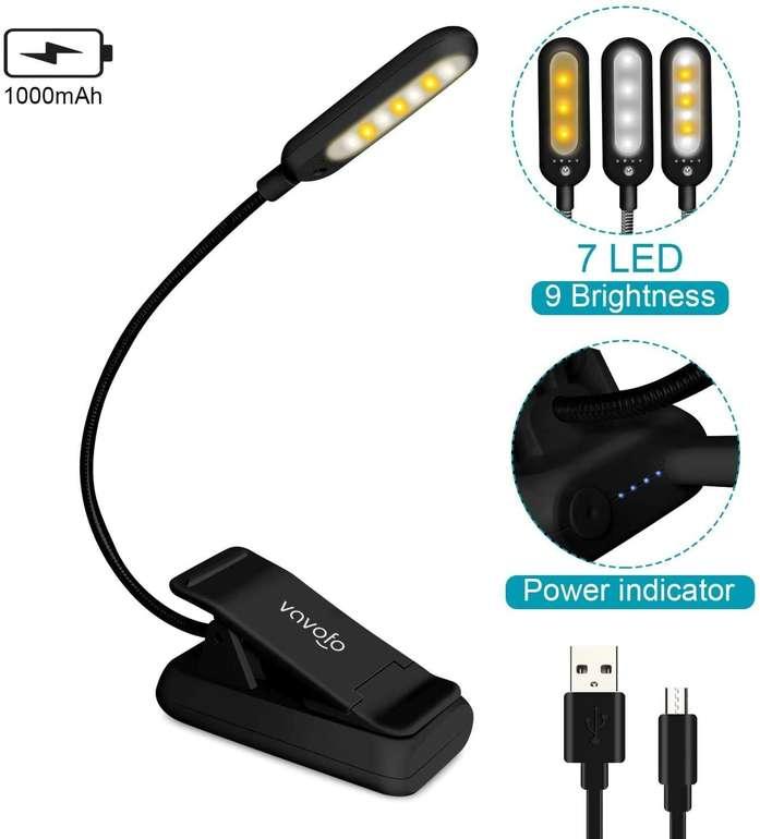 Vavofo Clip On LED Leselampe für 7,49€ inkl. Prime Versand (statt 15€)