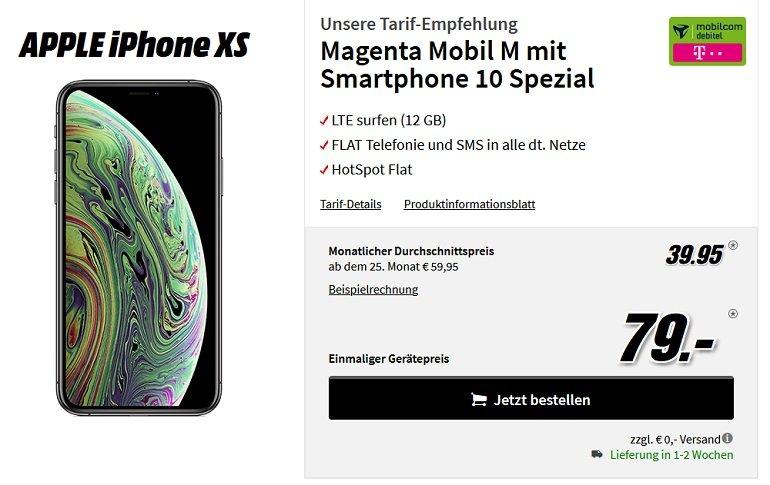 Apple iPhone XS 64GB Telekom Allnet-Flat 12GB LTE