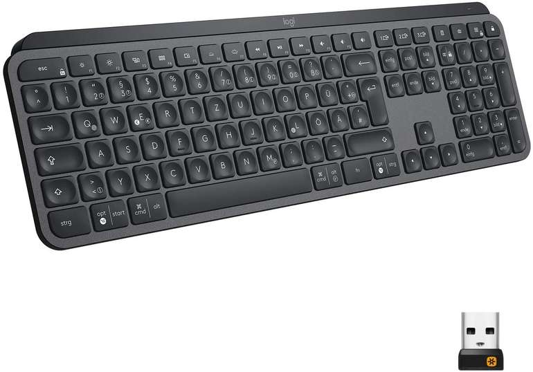 Logitech MX Keys Kabellose Tastatur (USB-C Anschluss, 5-Monate Akkulaufzeit) für 67,99€ (statt 73€)