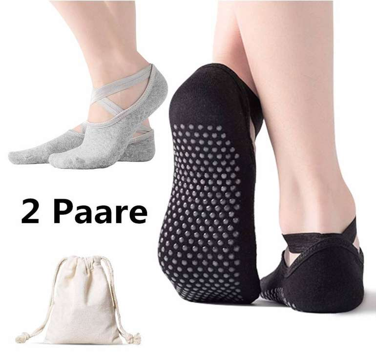 2er Pack AmazeFan rutschfeste Damen Yoga Socken für 4,80€ inkl. Prime (statt 12€)