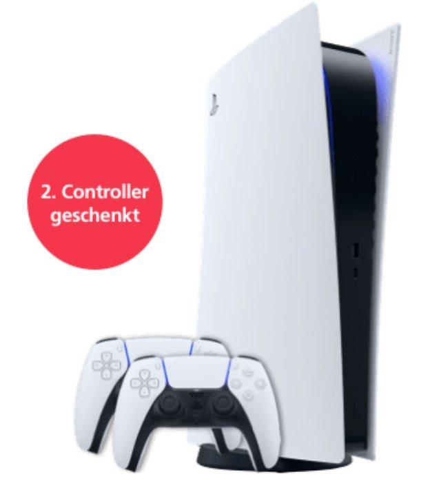 PlayStation 5 Digital Edition + 2. Controller (1€) + o2 Free M Allnet & SMS-Flat mit 20GB LTE für 42,99€ mtl.