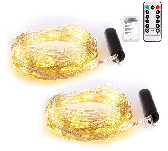Doppelpack Ecowho LED-Lichterketten mit jeweils 100 LEDs (2m) für 17,24€