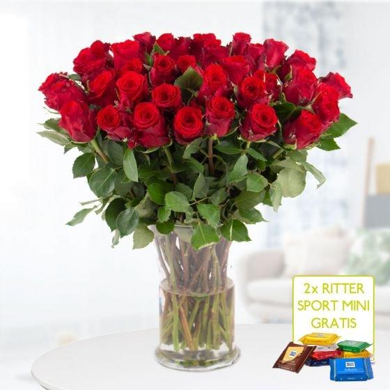 40 rote Rosen (40cm Stiellänge) + 2x Mini-Schokis für 24,90€ inkl. Versand