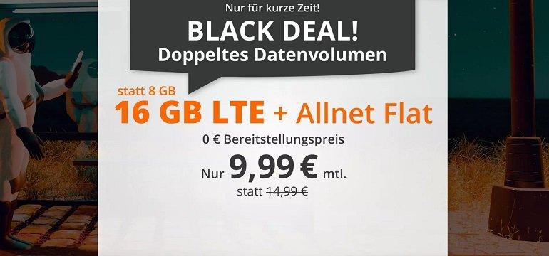 Sim.de o2 Allnet-Flat mit 16GB LTE Datenvolumen