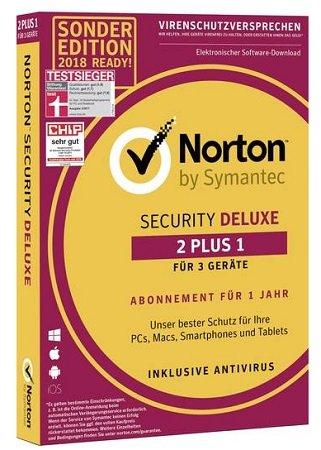 Symantec Norton Security Deluxe (1 Jahr für 3 Geräte) für 10€ (statt 23€)