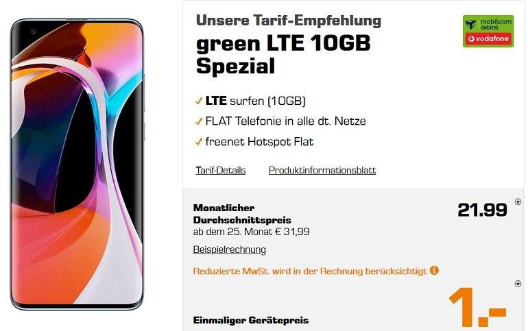 Xiaomi Mi 10 128GB Mobilcom-Debitel Vodafone green Allnet-Flat 10GB LTE