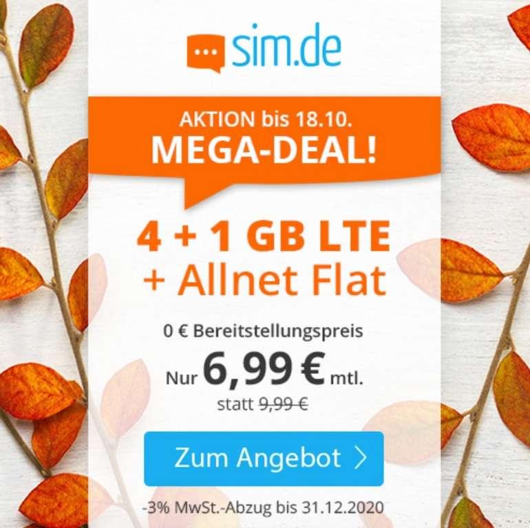 Sim.de o2 Allnet-Flat mit 5GB LTE Datenvolumen für 6,99€ mtl. (auch ohne Laufzeit!)