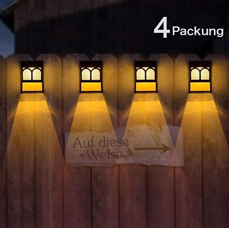 4er Pack Wuhuhai Solar-LED-Zaunleuchten mit Farbwechsel für 14,99€ (statt 30€)