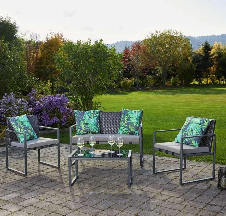 """Bessagi Garden Loungegarnitur """"Moni"""" in grau (Tisch, 2 Stühle + Sitzbank) für 112,69€ inkl. Versand"""