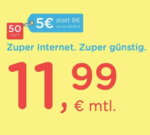 eazy Internet (Unitymedia) mit 20MBit/s für 11,99€ mtl. oder 50MBit/s nur 16,99€
