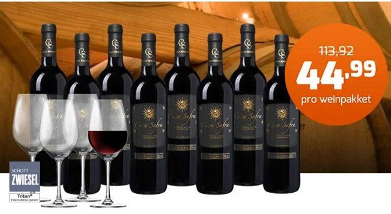Casa Safra Weinpaket mit 8 Flaschen + 4 Schott Zwiesel Gläser 2