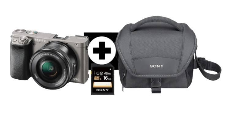 Sony Alpha 6000 Systemkamera + Objektiv SEL-P1650 (16-50mm) + Tasche + Speicherkarte für 436,13€