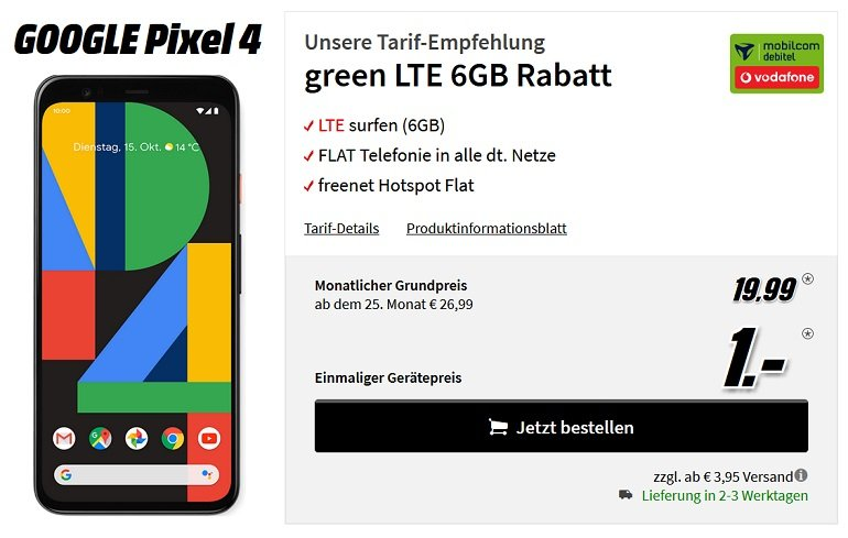 Google Pixel 4 Vodafone Allnet Flat 6GB LTE