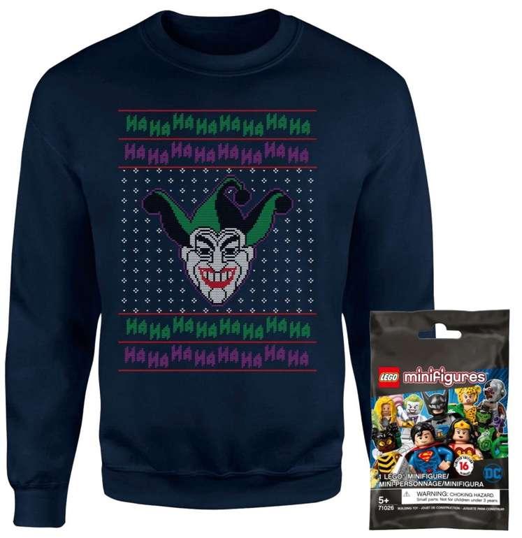 DC Joker Christmas Sweater (für Damen, Herren & Kinder) + Lego Mini Figure Bundle für 18,99€