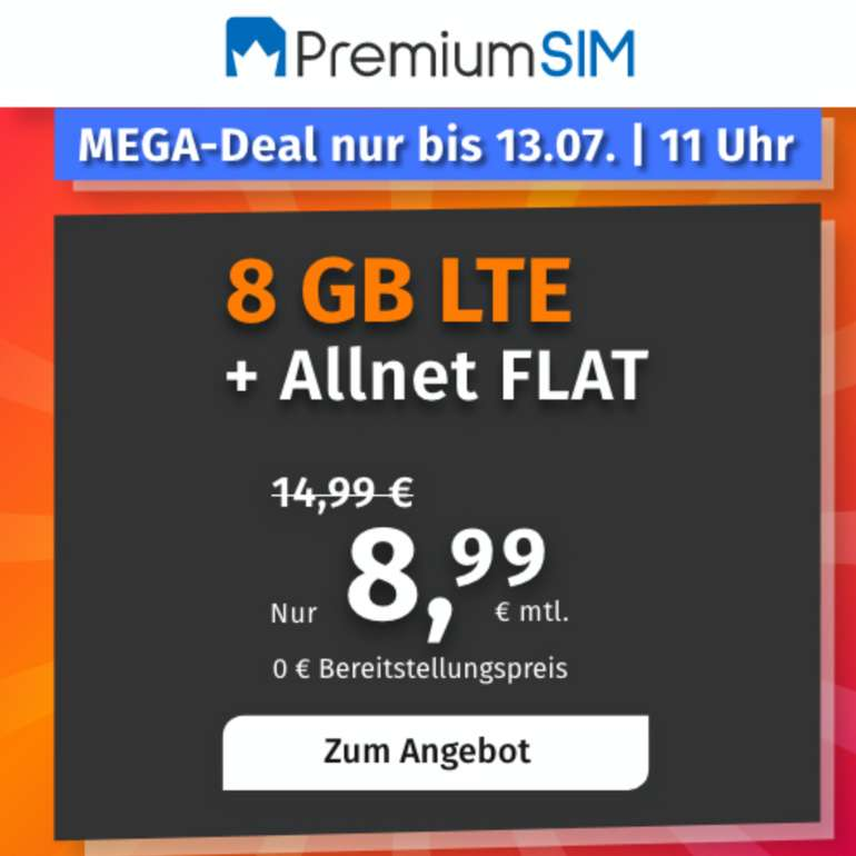PremiumSIM: o2 Allnet-Flat mit 8GB LTE Datenvolumen für 8,99€ mtl. (3 monatlich kündbar)