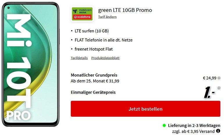 Xiaomi Mi 10T Pro 5G Mobilcom Vodafone Green LTE 10GB 2