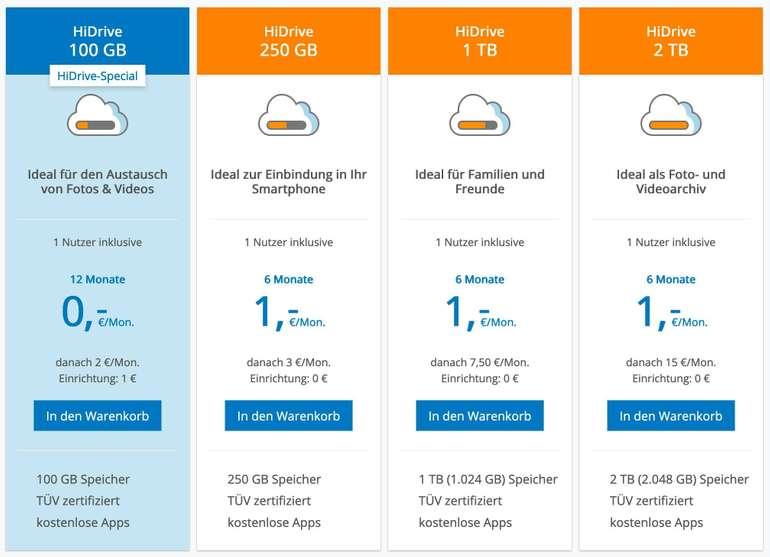 STRATO HiDrive - 100GB Could-Speicher (100% Standort in Deutschland) für 12 Monate je 1€