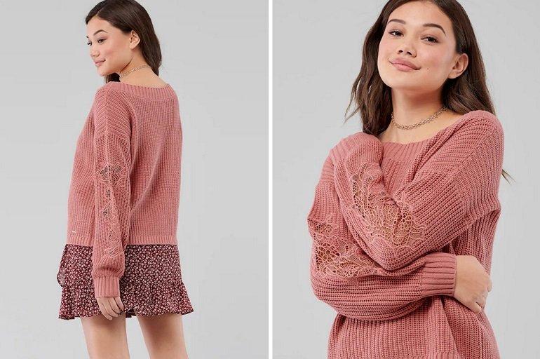 Hollister Pullover Stitch Vneck Sweater 3CC