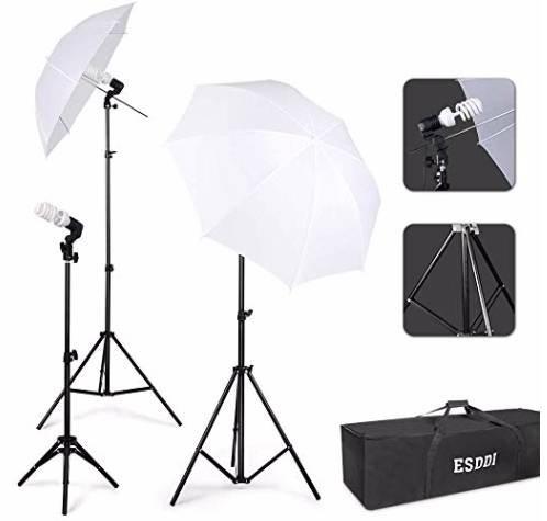 ESDDI Fotoschirme Set mit 135W 5500K Tageslichtlampe für 17,43€ inkl. Versand