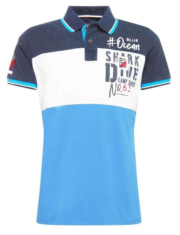 Camp David Poloshirt mit Logofrontprint in Blau für 32,94€ inkl. Versand (statt 58€)