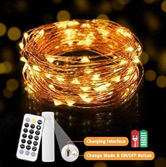 Kingso 10 Meter LED Lichterkette mit Akku und Fernbedienung (11 Modi) für 9,79€ inkl. Primeversand (statt 14€)