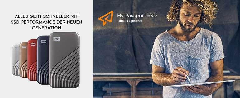 WD My Passport SSD 1 TB externe SSD (externe Festplatte mit SSD Technologie, NVMe-Technologie, USB-C und USB 3.2 Gen-2 kompatibel, Lesen 1050 MB s, Schreiben 1000 MB s) dunkelgrau
