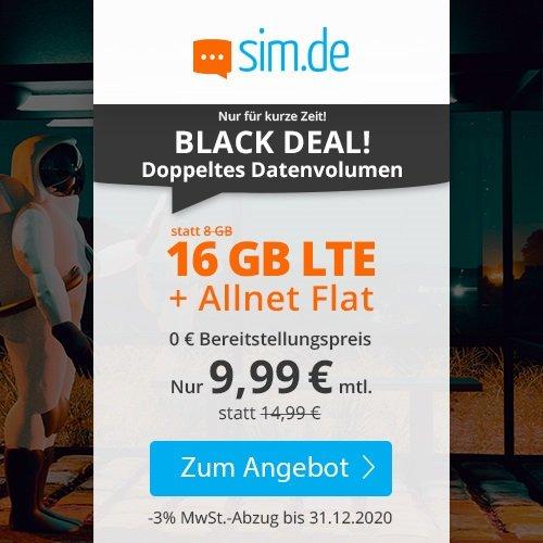 Bis 11:00 Uhr! Sim.de o2 Allnet-Flat mit 16GB LTE Datenvolumen für 9,99€ mtl. (3-mtl. kündbar!)