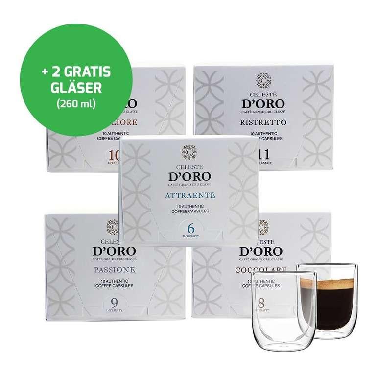 """Probierpaket """"Celeste d'Oro"""" mit 100 Kapseln + 2 doppelwandige Kaffeegläser für 28,94€ inkl. VSK"""