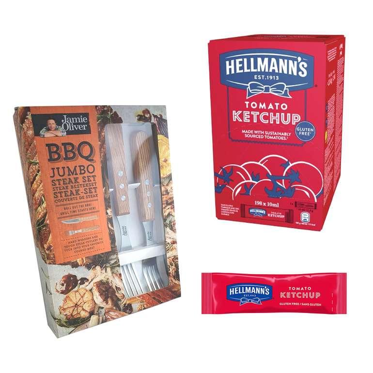 198 x 10ml Hellmann`s Ketchup + Jamie Oliver 4tlg. Steak-Besteckset für 14,14€ inkl. Versand (statt 18€)