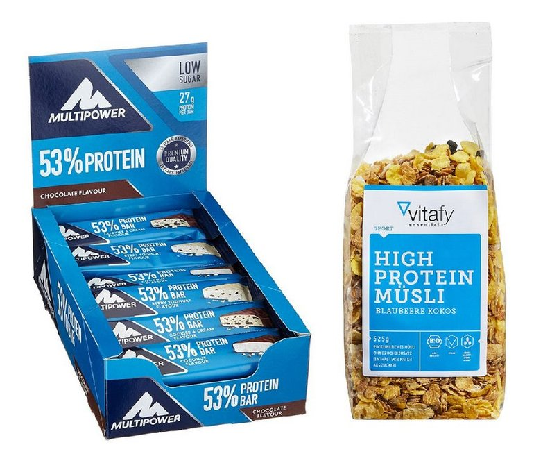 24x Multipower Protein Bar Chocolate + Essentials High Protein Müsli für 19,49€