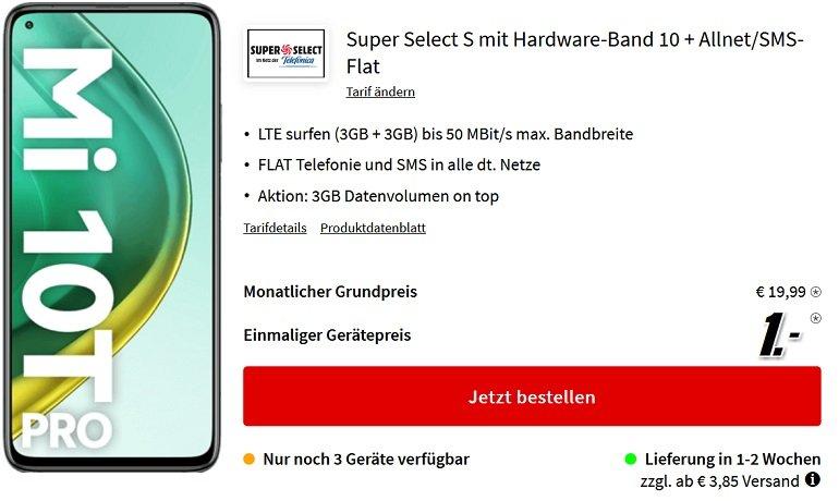 Xiaomi Mi 10T Pro 128GB o2 Super Select S Allnet und SMS Flat mit 6GB LTE