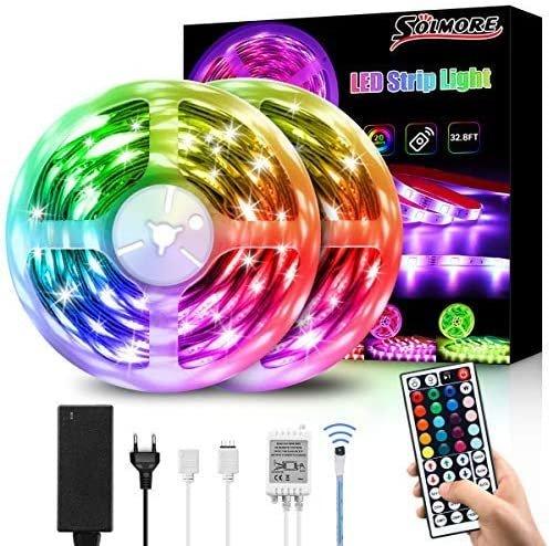 Solmore 10m LED RGB Streifen mit Fernbedienung für 11,99€ inkl. Prime Versand (statt 24€)