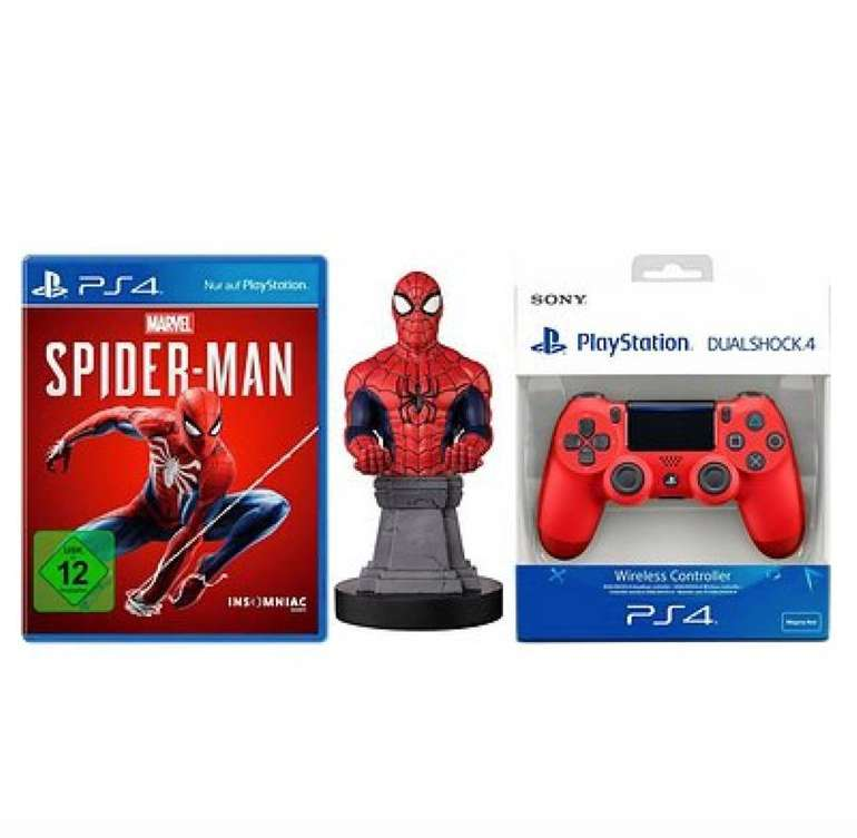 Marvel's Spider-Man (PS4) + DualShock Controller Rot + Cable Guy für 66,94€