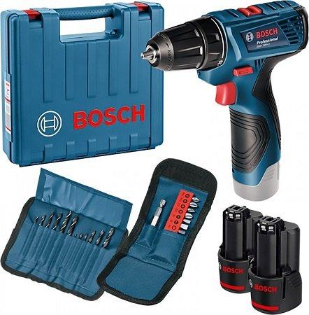 Bosch GSR 120 Li + 2x 1.5Ah Akku + Ladegerät + L-BOXX + Zubehörset für 79,90€