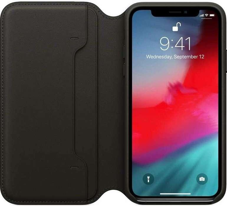 Apple iPhone XS Echt Leder Folio Case (MRWW2ZM/A) mit EC Kartenfach für 31,31€ inkl. Versand (statt 42€)