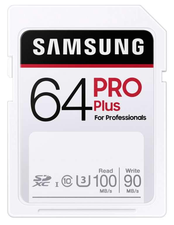 Samsung PRO Plus mit 64GB (SDXC UHS-I U3 100MB/s) für 7,99€inkl. Prime Versand (statt 15€)