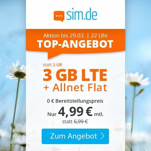 Sim.de: o2 Allnet-Flat mit 3GB LTE Datenvolumen für 4,99€ mtl. (auch ohne Laufzeit!)