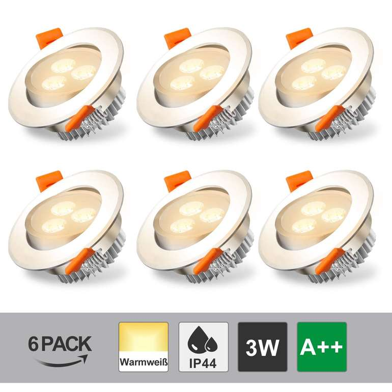 Hengda schwenkbare 3W LED Einbaustrahler reduziert, z.B. 6er Pack für 11,19€