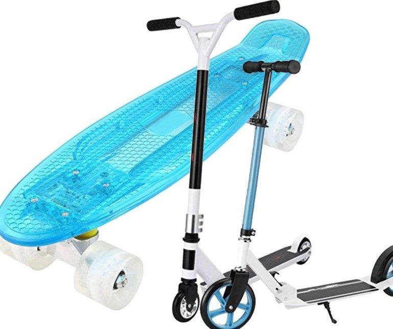 3 Produkte dank Gutschein reduziert, Roller 52€, Skateboard 23€, Scooter 50€