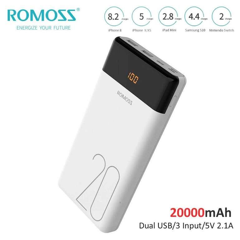 Romoss Powerbank mit 20.000mAh & LED-Anzeige für 14,99€ (statt 23€)